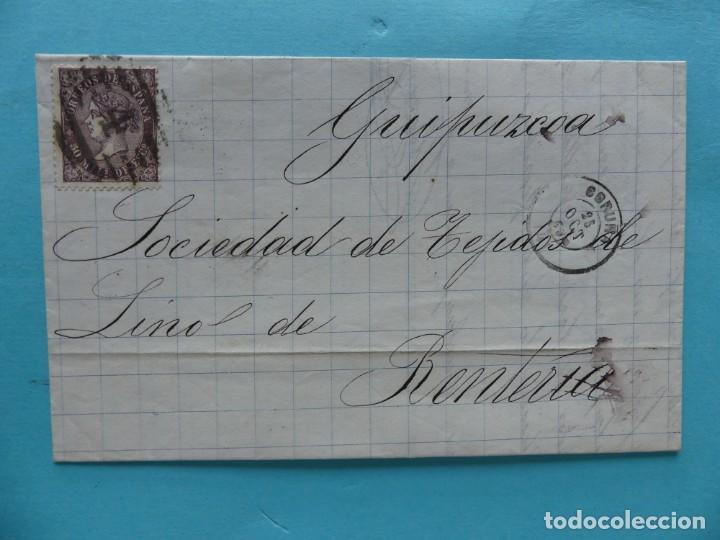 FILATELIA CARTA EDIFIL 98 MATASELLO PARRILLA CON CIFRA 4 FECHADOR CORUÑA MEMBRETE Y ETIQUETA CIERRE (Sellos - Historia Postal - Sello Español - Sobres Circulados)
