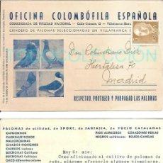 Sellos: COLOMBOFILIA TARJETA OFICINA COLOMBOFILA ESPAÑOLA CRIADERO PALOMAS MENSAJERAS VILLAFRANCA BARCELONA. Lote 146622008