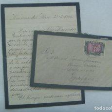 Sellos: CARTA Y SOBRE DE LUTO , CIRCULADA DE MAIRENA DEL ALCOR A GRANADA, 1946. SELLO VIRGEN DEL PILAR. Lote 140479822