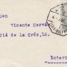Sellos: 1948 MATASELLOS EXAGONAL AMBULANTE ASCENDENTE II, 1 LIRIA VALENCIA. SOBRE CIRCULADO. Lote 143217053