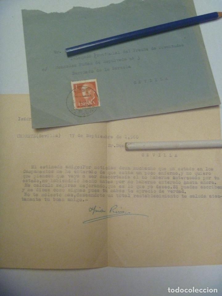 FRENTE DE JUVENTUDES - FALANGE : CARTA DESDE UMBRETE AL DELEGADO PROVINCIAL . SEVILLA, 1960 (Sellos - Historia Postal - Sello Español - Sobres Circulados)