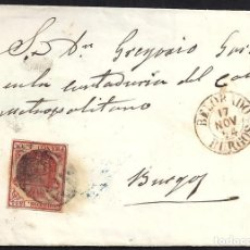 Sellos: BURGOS. 1854. ESPAÑA. SPAIN. 4 CUARTOS. ED. 33. BELORADO A BURGOS.. Lote 144952825