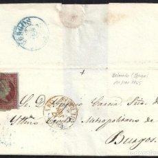 Sellos: BURGOS. 1855. ESPAÑA. SPAIN. 4 CUARTOS. ED. 40. BELORADO A BURGOS.. Lote 144952841