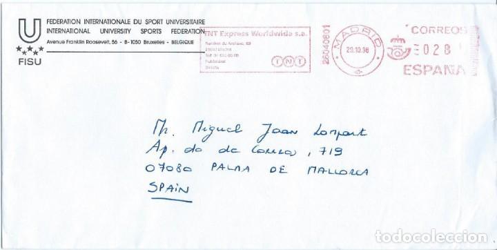 1998. MADRID. FRANQUEO MECÁNICO/METER. TNT EXPRESS WORLDWIDE. CIRCULADO A PALMA. DEPORTES/SPORTS. (Sellos - Historia Postal - Sello Español - Sobres Circulados)