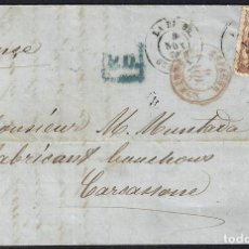 Sellos: GIRONA. 1870. ESPAÑA. SPAIN. 12 CUARTOS. ED. 113. PALAFRUGELL A FRANCIA. FRANCE.. Lote 145342772