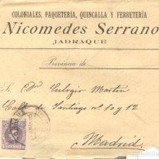 Sellos: SOBRE DEL 15 CÉNTIMOS DEL CADETE (EDIFIL 245) 23/03/1905. JADRAQUE A MADRID. Lote 145645102