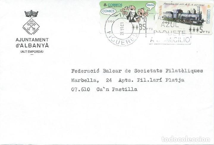 2001 SOBRE CIRCULADO DESDE FIGUERES A CA'N PASTILLA FRANQUEADO CON DOS ATM VALOR VARIABLE. (Sellos - Historia Postal - Sello Español - Sobres Circulados)
