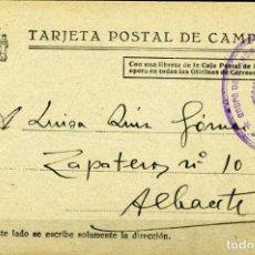 Sellos: ESPAÑA GUERRA CIVIL. PROV DE CASTELLÓN. VILLARREAL A ALBACETE. TARJETA DE CAMPAÑA REPUBLICANA.. Lote 146986454