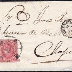 Sellos: 1864. ESPAÑA. SPAIN. ORENSE A CHAPA. 4 CUARTOS ROSA. ED. 64. MAT. RC 35 EN NEGRO. BONITA ENVUELTA.. Lote 147427485