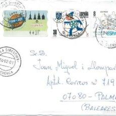Sellos: 2001. CUENCA. MATASELLOS/POSTMARK. SALA DIRECCIÓN. SOBRE CIRCULADO A PALMA. FRANQUEO DEPORTES/SPORTS. Lote 147558902