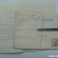 Sellos: CARTA CIRCULADA DESDE LAS CABEZAS A SEVILLA. SELLOS FRANCO, CID Y VIÑETA MUTUALIDAD CORREOS, 1949. Lote 147646222