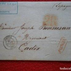 Sellos: CARTA AÑO 1854 DIEPPE FRANCIA A CADIZ. Lote 148866598