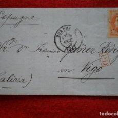 Sellos: CARTA AÑO 1870 BORDEAUX A VIGO PASO FRONTERA Y LLEGADA VIGO BONITA. Lote 148866706