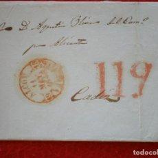 Sellos: ENVUELTA DE CARTA AÑO 1844 BAEZA DE ALCOY ALICANTE PORTEO 11 Q. Lote 148866766