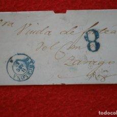 Sellos: ENVUELTA DE CARTA AÑO 1855 BARCELONA ZARAGOZA PORTEO 8 POR FALTA DE FRANQUEO. Lote 148866782