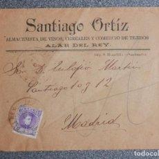 Sellos: SOBRE PUBLICITARIO ALAR DEL REY PALENCIA ALMACENISTA VINOS RARO FECHADOR 1907. Lote 148867502