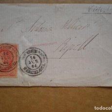 Sellos: FRONTAL CARTA VICH BARCELONA A RIPOLL EDIFIL 64 AÑO 1864. Lote 148867941