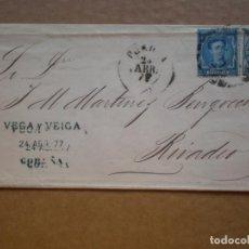 Sellos: SOBRE CARTA CORUÑA A RIVADEO DOBLE EDIFIL 175 Y 183. Lote 148868084