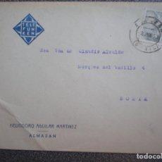 Sellos: SOBRE ALMAZÁN SORIA MEMBRETE HELIODORO AGUILAR TELEFUNKEN AÑO 1943. Lote 148868208