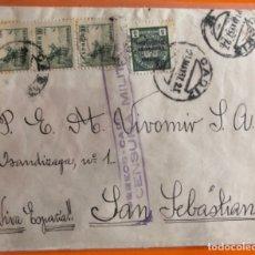 Sellos: FRONTAL SOBRE- CADIZ- SAN SEBASTIAN- GUERRA CIVIL- CENSURA MILITAR- FRANQUEO Y VIÑETA- 1.937. Lote 148894642