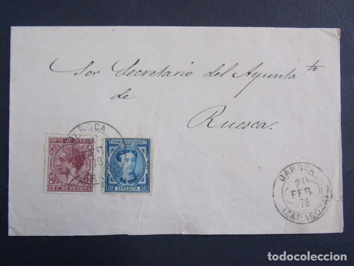 SOBRE CIRCULADO MATASELLOS DAROCA ( ZARAGOZA) A HUESCA , AÑO 1878 , EDIFIL 188/ 175 ... A1303 (Sellos - Historia Postal - Sello Español - Sobres Circulados)