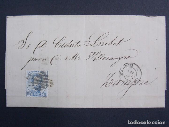 ENVUELTA CARTA , MATASELLOS MADRID ( ANGOITIA Y COMP ) A ZARAGOZA , AÑO 1873 , EDIFIL 121 ... A1305 (Sellos - Historia Postal - Sello Español - Sobres Circulados)