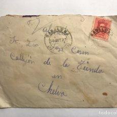 Sellos: CHELVA (VALENCIA) SOBRE FRANQUEADO DESDE BADALONA A CHELVA (A.1927). Lote 151160702