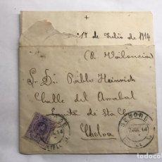 Selos: SEGORBE (CASTELLÓN) A CHELVA (VALENCIA) SOBRE FRANQUEADO (A.1914). Lote 151178552