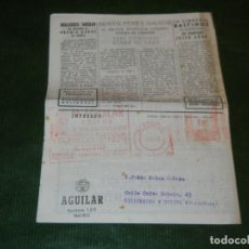 Sellos: FRANQUEO MECÁNICO MANUEL AGUILAR EDITOR N.194 DE 8/04/1953 SOBRE FOLLETO NOVEDADES ABRIL 1953. Lote 153584266
