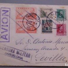 Sellos: MAGNIFICO SOBRE COMPLETO - FECHADOR BARCELONA Y SEVILLA - CENSURA MILITAR BARCELONA - JUNIO 39. Lote 154828286