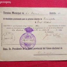 Sellos: 1931-SOBRE MATASELLOS JUNTA MUNICIPAL DEL SENSO ELECTORAL-LA LAMA.(PONTEVEDRA). Lote 155692650