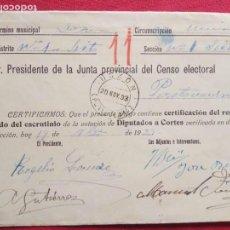 Sellos: 1933-SOBRE CERTIFICACION DEL RESULTADO ESCRUTINIO VOTACION A CORTES.DOZON(PONTEVEDRA).. Lote 155693150