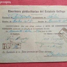 Sellos: 1936-SOBRE.ELECCIONES PLEBISCITARIAS DEL ESTATUTO GALLEGO.AYNTAMIENTO DE LALIN.. Lote 155696134