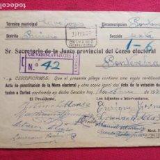 Sellos: 1936-SOBRE JUNTA PROVINCIAL DEL CENSO ELECTORAL.CALVARIO-LAVADORES.(PONTEVEDRA).. Lote 155696438