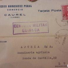 Sellos: 1939 CENSURA QUIROGA CAUREL LUGO JESUS RODRIGYEZ PERAL DIRIJIDA AJURIA LUGO. Lote 156896218