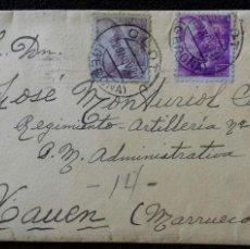 Sellos: SOBRE CIRCULADO. OLOT-XAUEN. GERONA-MARRUECOS. 1941.. Lote 156980566