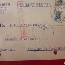 Sellos: 1938 AVILA CENSURA MILITAR ARRIBA ESPAÑA GONZALO GONZALEZ GALLARDO ALMACEN BISUTERIA BARCO AVILA. Lote 157202316