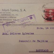 Sellos: 1937 VALENCIA CID CENSURA INDUSTRIAS MARTI..TORMO FABRICA GENEROS PUNTO.TOALLAS ALBORNOCES. Lote 157205828