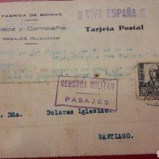 Sellos: 1937 PASAJES GUIPUZCUA CENSURA MILITAR FABRICA DE BOINAS USOZ Y COMPAÑIA VIVA ESPAÑA. Lote 157206681