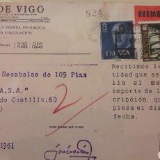 Sellos: 1961 VIGO FARO DE VIGO DIARIO REMBOLSO. Lote 157753985