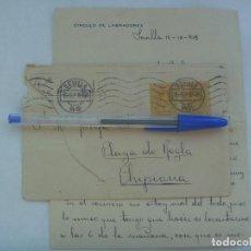Sellos: CARTA CIRCULADA DE MILITAR, CIRCULO DE LABRADORES DE SEVILLA A CHIPIONA, 1918. MANUSCRITA , SELLOS. Lote 161716946
