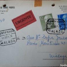 Sellos: ENVUELTA DE CARTA CON CONTENIDO INTERIOR MALAGA 1976. Lote 162907917