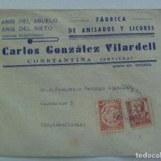 Sellos: GUERRA CIVIL: SOBRE COMERCIAL DE CONSTANTINA CIRCULADA CHIPIONA. VIÑETA AUXILIO, SELLO ISABEL, 1938. Lote 164963170