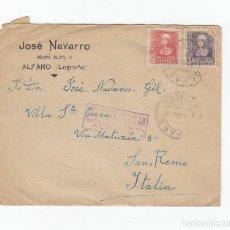 Sellos: JOSÉ NAVARRO.SOBRE CON CENSURA MILITAR ALFARO, LOGROÑO.13/ 03/ 1939. Lote 175138590