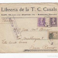Sellos: LIBRERIA DE LA T.C.CASALS.SOBRE CON CENSURA MILITAR.BARCELONA.CIRCULADO EN 1939.. Lote 175139174