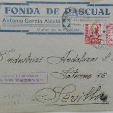 Sellos: GUERRA CIVIL: SOBRE DE MORON FRA. A SEVILLA. SELLO ISABEL Y VIÑETA, CENSURA MILITAR. Lote 175369029