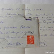Sellos: SELLO 1 PTA. FRANCISCO FRANCO - SOBRE CIRCULADO Y CARTA PRIVADA 1960.. Lote 175534948