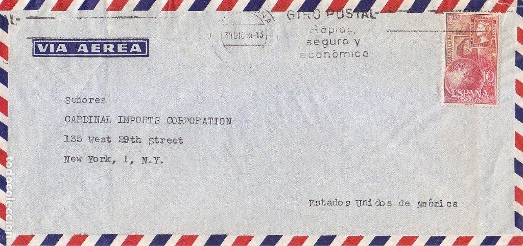 10 PTS DIA MUNDIAL SELLO 1964 EN CARTA CIRCULADA 1965 CON RODILLO VIA AEREA BARCELONA-NUEVA YORK MPM (Sellos - Historia Postal - Sello Español - Sobres Circulados)
