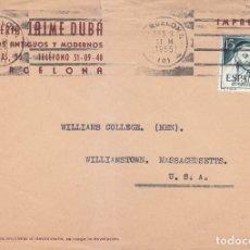 Sellos: TIRSO DE MOLINA CARTA COMERCIAL (LIBRERIA JAIME DUBA) CIRCULADA 1955 BARCELONA-USA RODILLO MUDO. MPM. Lote 176077743