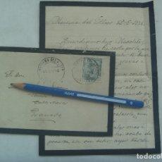 Sellos: CARTA Y SOBRE DE LUTO, CIRCULADA DE MAIRENA DEL ALCOR A MADRID, 1946. SELLO FRANCO, CUÑO CAJA AHORRO. Lote 176218153